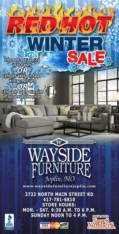 10 Off When Purchased With A Credit Card Or 15 Cash Carry Our Already Low Prices Wayside Furniture Joplin Mo