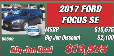 Jon S Certified Pre Owned 7 Year 100 000 Mile Train Warranty Ford 2017 Focus Se U8690 Msrp 15 675