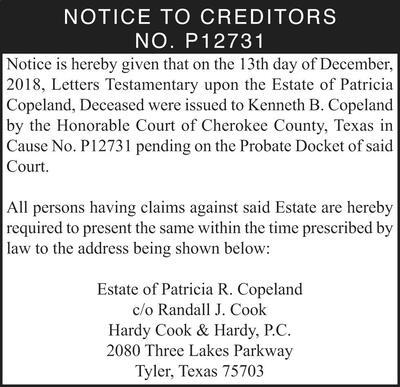 Notice To Creditors Probate Texas