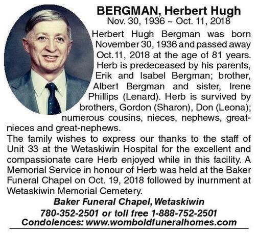Herbert Hugh  Bergman