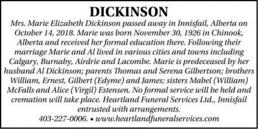 Marie Elizabeth  DICKINSON