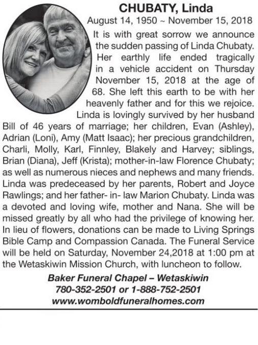 Linda CHUBATY | Obituary | Wetaskiwin Times