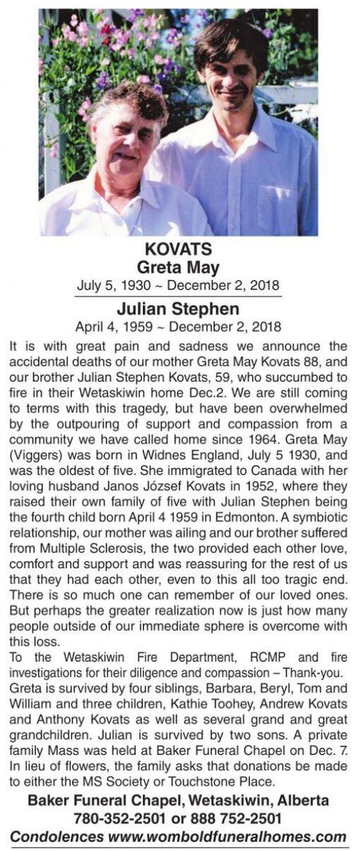 Greta May KOVATS | Obituary | Wetaskiwin Times