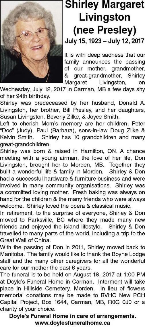 Shirley Margaret  Livingston