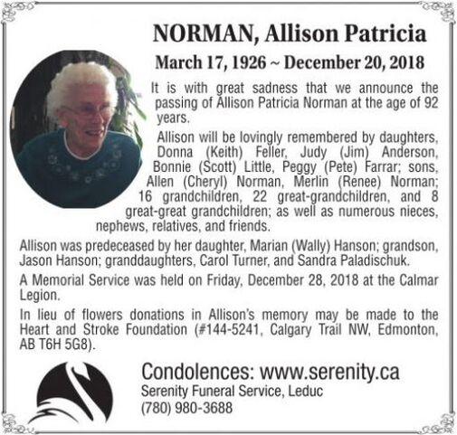 Allison Patricia  NORMAN