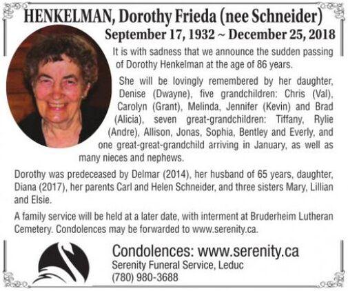 Dorothy Frieda (nee Schneider)  HENKELMAN