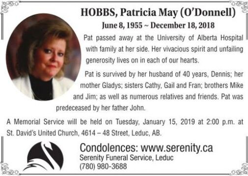 Patricia May (O'Donnell  HOBBS