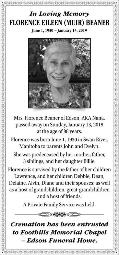 Florence Eileen  BEANER