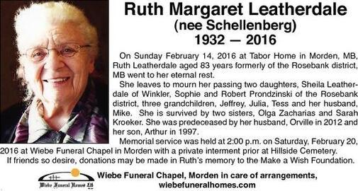 Ruth Margaret  Leatherdale