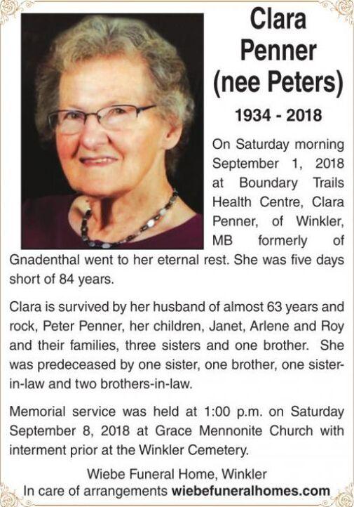 Clara (nee Peters)  Penner