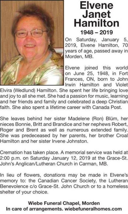 Elvene Janet  Hamilton