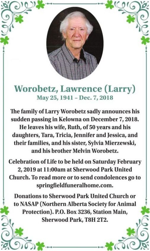 Lawrence (Larry)  May  WOROBETZ
