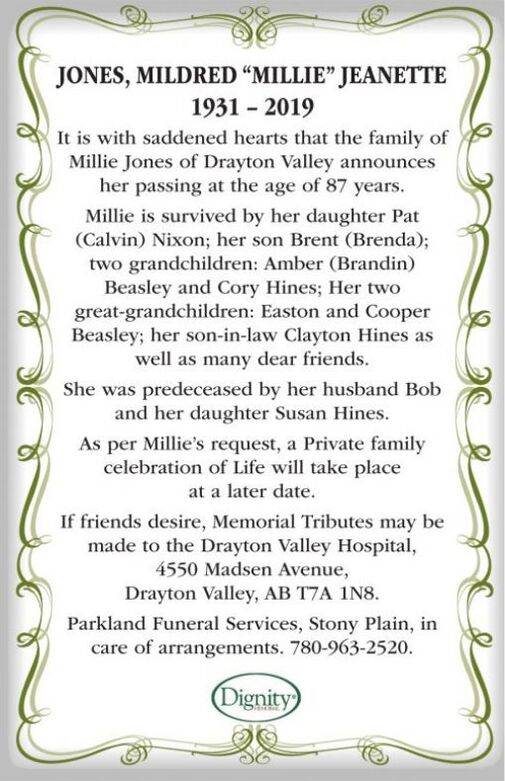 """Mildred """"Millie"""" Jeanette  JONES"""