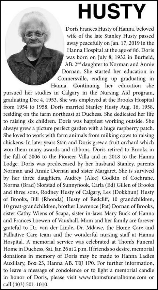 Doris Frances  HUSTY
