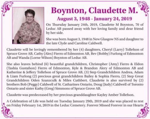 Claudette M.  BOYNTON