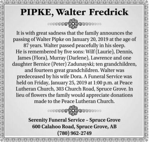 Walter Fredrick  PIPKE