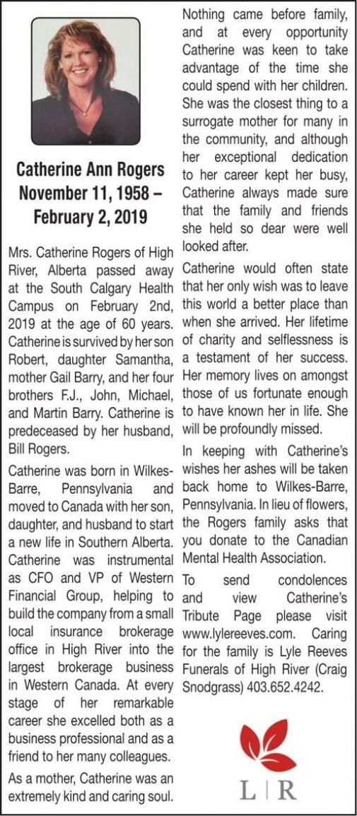 Catherine Ann  ROGERS