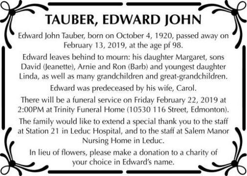 Edward John  TAUBER