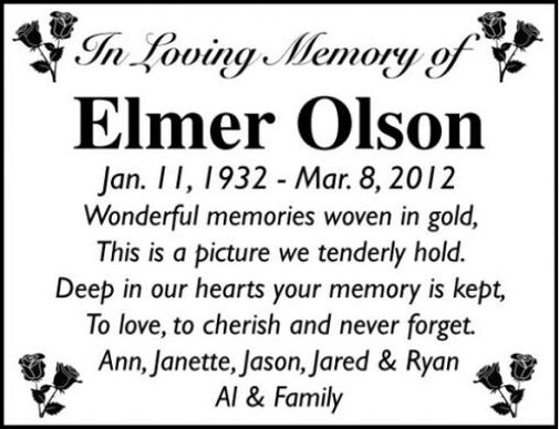 Elmer  Olson