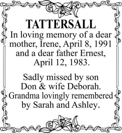 Irene  TATTERSALL