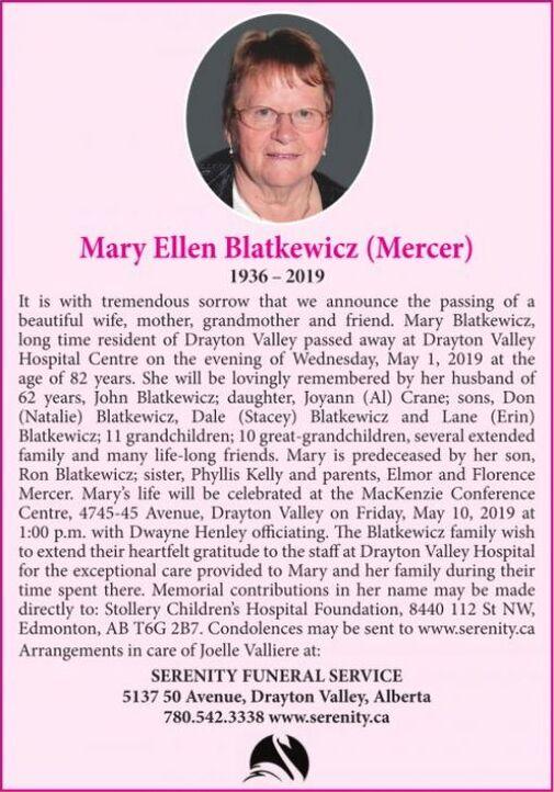 Mary Ellen(Mercer)  BLATKEWICZ