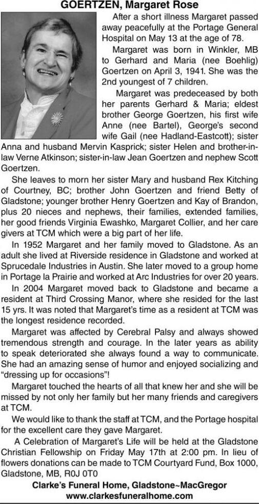 Margaret Rose  GOERTZEN
