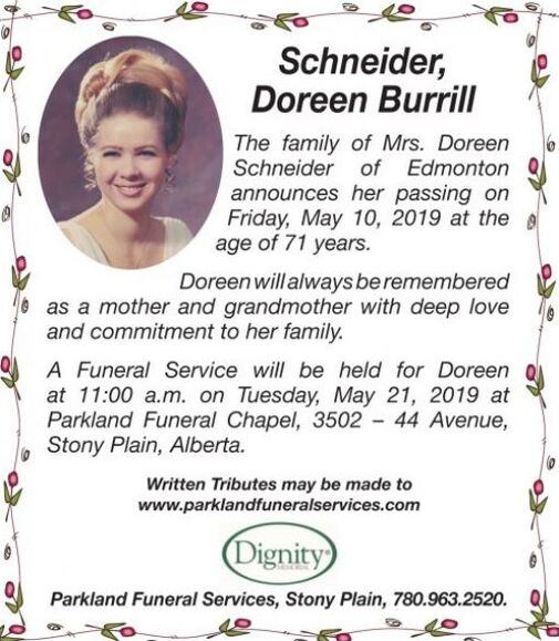 Doreen Burrill  SCHNEIDER
