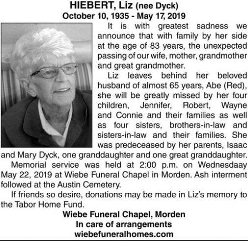Liz (nee Dyck)  HIEBERT