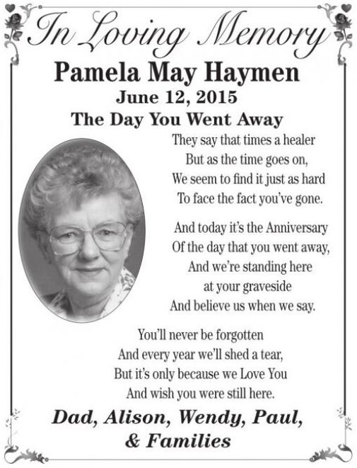 Pamela May  HAYMEN