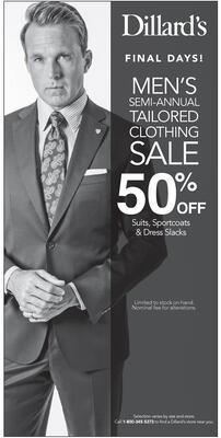4c6018406 photo · Dillard s · Dillard s FINAL DAYS! MEN S SEMI-ANNUAL TAILORED  CLOTHING SALE ...