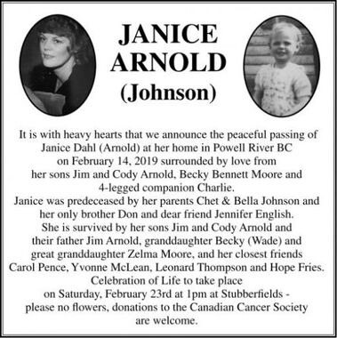 Janice (Johnson)  ARNOLD