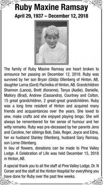 Ruby Maxine  RAMSAY