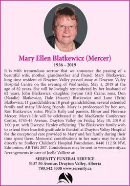 Mary Ellen (Mercer)  BLATKEWICZ
