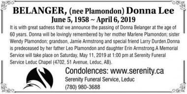 (nee Plamondon) Donna Lee  BELANGER