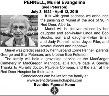 Muriel Evangeline (nee Peterson)  PENNELL