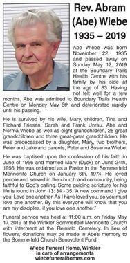 Rev. Abram (Abe)  WIEBE