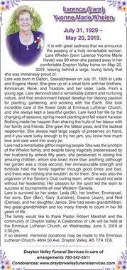Larence (Lare) Yvonne Marie  WHELEN