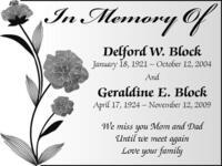In Memory Of Delford W. Block January 18