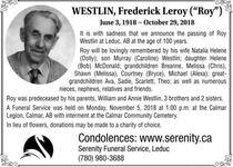 "Frederick Leroy (""Roy""  WESTLIN"