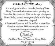 Mary  DRAHANCHUK