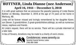 Linda Dianne (nee Anderson)  BUTTNER