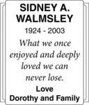 Sidney A  Walmsley