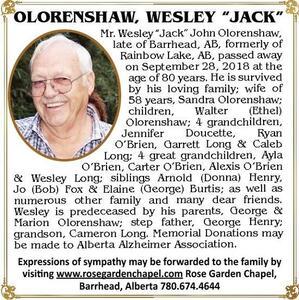 """WESLEY """"JACK""""  Olorenshaw"""