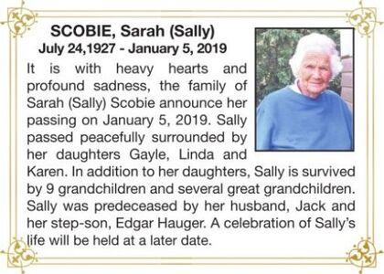 Sarah (Sally)  SCOBIE