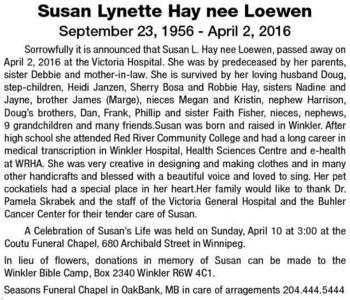 Susan Lynette Hay nee  Loewen
