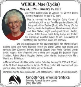 Mae (Lydia)  WEBER