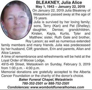 Julia Alice  BLEAKNEY
