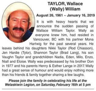 Wallace (Wally) William  TAYLOR