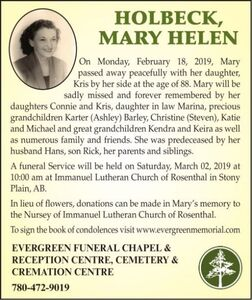 Mary Helen  HOLBECK