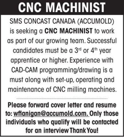 CNC MACHINIST SMS CONCAST CAN... Job Posting | Working.com